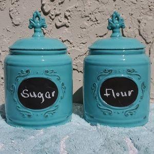 2 Flour/Sugar Ceramic Canisters
